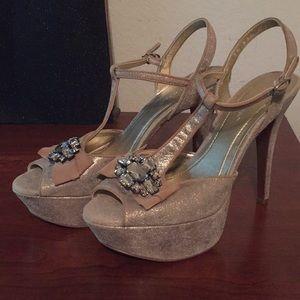 Tan shimmer heels,